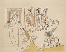Painting with three prominent indigenous warriors in single file facing left, wearing cloaks and grasping staves, followed by a dog. Below them and to the right is the smaller image of a mounted Spaniard with a raised lance. To the left and indigenous porter carries a pack fixed by a strap across his forehead, and sports a staff in one hand. All are apparently moving towards a doorway at top left.