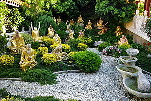 A garden featuring depictions of various arhats (Hsi Lai Temple, California)
