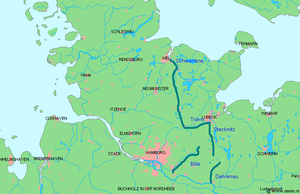 History of Schleswig-Holstein - The Limes Saxoniae, the ancient border between the Saxons and the Obotrites, established c. 810.