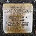 Limmerstraße 71, Hannover-Linden, Nach Patenschaft durch DESIMO Stolperstein für Ernst Schünemann, Jg. 1887, verhaftet 1939, Zuchthaus, Krankenhaus Hameln, Tot an Haftfolgen 14.2.1941.jpg