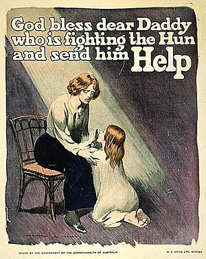 Australian conscription referendum, 1916 - Norman Lindsay produced several emotive posters for the 'Yes' campaign.