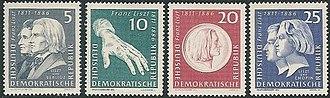 Briefmarkenausgabe der DDR 1961zum 150. Geburtstag Liszts (Quelle: Wikimedia)