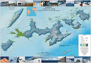 Teteven Glacier - Topographic map of Livingston Island, Greenwich, Robert, Snow and Smith Islands.