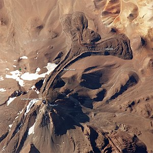 Llullaillaco - Llullaillaco seen from space, with lava flows clearly visible.
