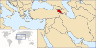 A map showing the location of Armenia