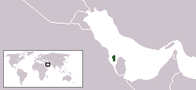 A map showing the location of Bahrain