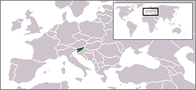 A map showing the location of Slovenia