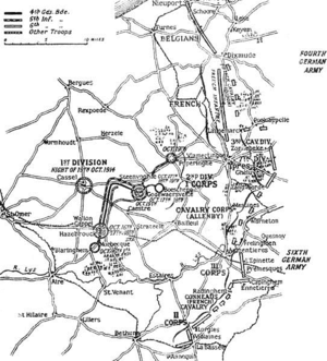 First Battle of Ypres - Positions of the Allied and German armies, 19 October 1914