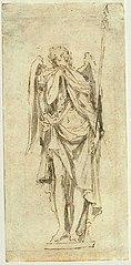 Ébauche d'un tableau d'un ange en pleurs, tenant la lance de la Passion dans l'église Saint-Nicolas de Bruxelles