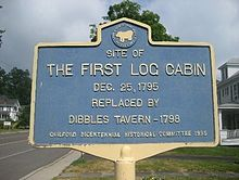 First log cabin, Guilford, NY.