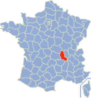 Communes of the Loire department - Image: Loire Position
