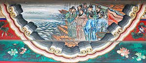 Six Dynasties poetry - Cao Cao cites a poem before the Battle of Red Cliffs, portrait at the Long Corridor of the Summer Palace, Beijing