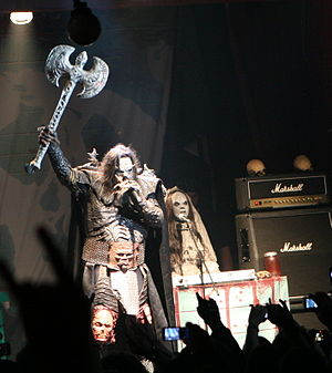 Mr Lordi - Mr Lordi holding up his axe.