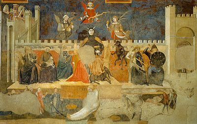 400px Lorenzetti ambrogio bad govern. det ALLEGORY AND EFFECTS OF THE GOOD AND THE BAD GOVERNMENT. PALAZZO PUBBLICO. SIENA.