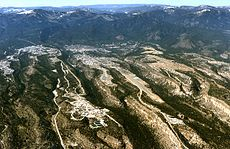 A westward aerial view of Los Alamos.