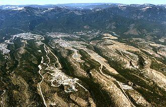 Los Alamos, New Mexico - A westward aerial view of Los Alamos.
