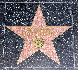 Andrew Lloyd Webber - Lloyd Webber was awarded a star on the Hollywood Walk of Fame in 1993 for his contribution to live theatre