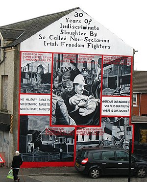 1971 Balmoral Furniture Company bombing - A mural showing the Balmoral bombing and other IRA attacks carried out on the Shankill Road