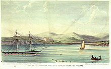 Lithograph print of ships in a sparsely-populated harbor