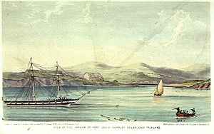 Lt. Lowcay, View of the Harbor of Port Louis - Berkley Sound, East Falkland.jpg