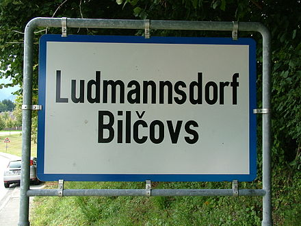Ludmannsdorf/Bilčovs bilingual place-name sign, one of the few in southern Carinthia