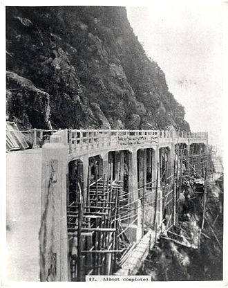 Lugard Road - Piered section of Lugard Road in the final stages of completion (c.1921)