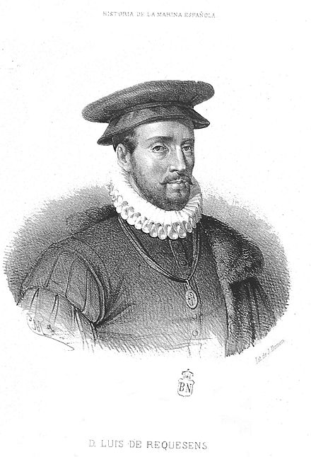 Luis de Requesens, from a 19th-century portrait. Requesens died in 1576, with his troops in an uncertain situation.