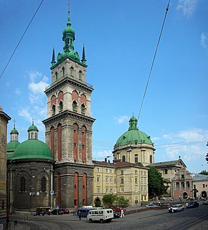 Old Town (Lviv) - The complex of the Dormition Church is dominated by the 400-year-old Korniakt Tower.