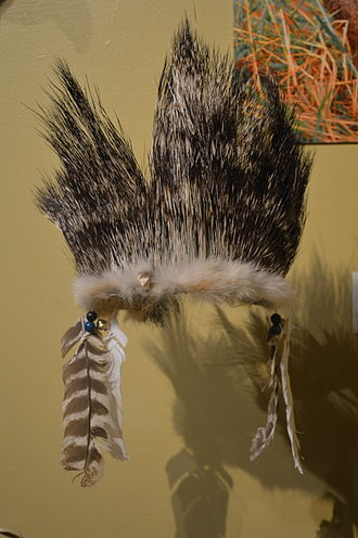Porcupine - Porcupine guardhair headdress made by native peoples from Sonora displayed at the Museo de Arte Popular in Mexico City