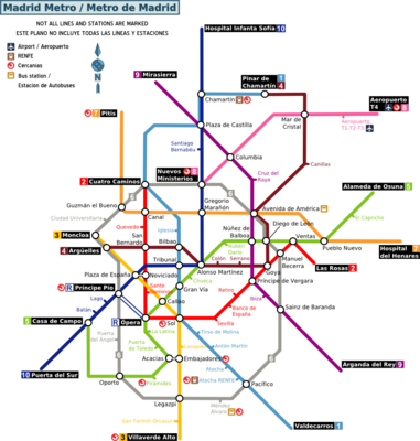Tourist map of the Madrid Metro