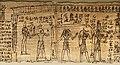 Maec, sezione egizia, libro dei morti di peteminis, II secolo dc. 03 defunto accompagnato da maat alla bilancia con anubi e horus.jpg