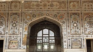 Sheesh Mahal (Lahore Fort) - The Sheesh Mahal is elaborately decorated with a myriad of reflective glass tiles.
