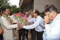 Mahesh Sharma Being Greeted By Samarendra Kumar With Flowers - NCSM - Kolkata 2017-07-11 3404.JPG