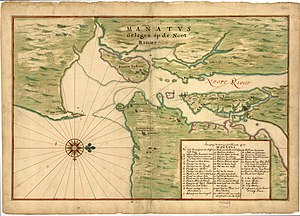 Pavonia, New Netherland - Map (c1639) Manhattan situated on the North Rivier with numbered key showing settlements: 27. Farm of Van Vorst; 28. v (sic): 29. Farm of Evertsen; 30. Plantation at Lacher's Hook; 31. Plantation at Paulus Hook; 32. Plantation of Maerytensen