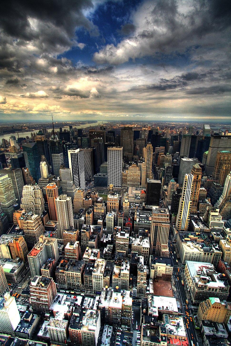 Manhattan panorama under clouds