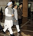 Manmohan Singh being escorted by the Union Minister for Information & Broadcasting and Parliamentary Affairs, Shri Priyaranjan Dasmunsi and the Minister of State for Parliamentary Affairs.jpg