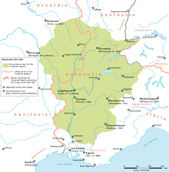 Duchy of Burgundy - Burgundy as part of the Frankish Empire between 534 and 843