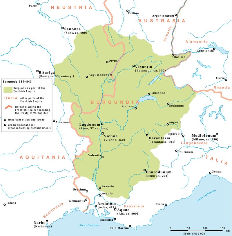 Kart over Burgund som en del av det frankiske imperiet mellom 534 og 843