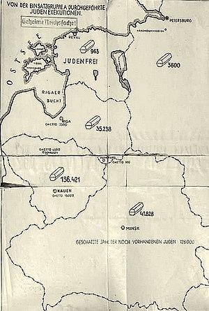 Reichskommissariat Ostland - Image: Map Stahlecker's Report 1941 1943
