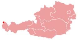 De ligging van Bregnez binnen Oostenrijk
