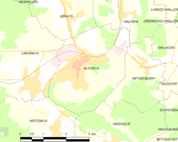 Map of the commune of Altkirch