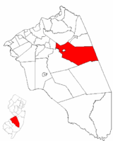 Pemberton Township highlighted in Burlington County. Inset map: Burlington County highlighted in the State of New Jersey.