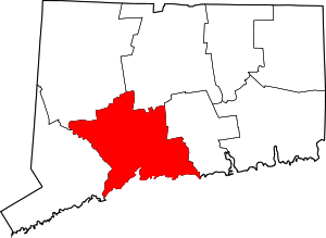 Map of Connecticut highlighting New Haven County