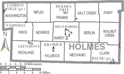 Map of Holmes County Ohio With Municipal and Township Labels.PNG