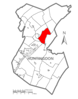 Map of Huntingdon County, Pennsylvania Highlighting Henderson Township