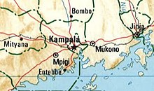 Map of Kampala and surrounding locales, including Mpigi, Entebbe, Bombo, and Jinja