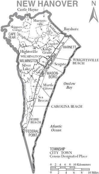 New Hanover County, North Carolina - Map of New Hanover County, North Carolina With Municipal and Township Labels