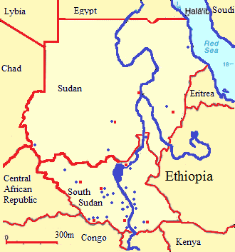Province of the Episcopal Church of South Sudan - Map of the Catholic (red) and Anglican (blue) bishoprics in Sudan and South Sudan, 2017.