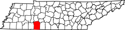 map of Tennessee highlighting Wayne County