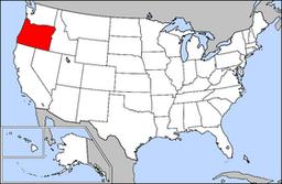 Kort over USA med Oregon markeret